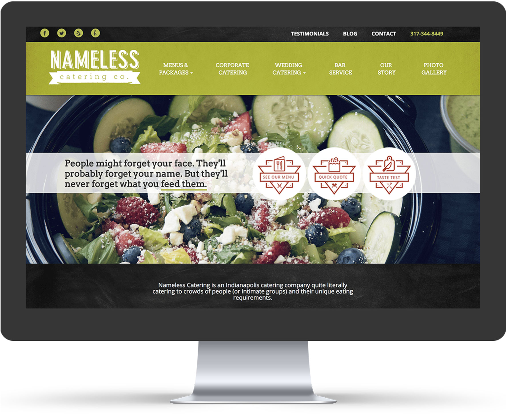 Nameless Company Website Mockup on iMac